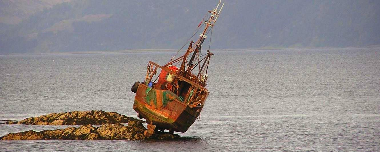 Fishing boat aground - Scottish Loch